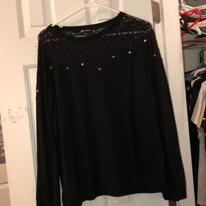 Tops - black blouse with lace